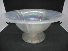 U.S. Glass Tiffin #314 White Carnival Stretch glass comport Fruit bowl