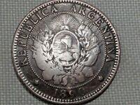 Argentina Large Copper 2 Centavos 1890 Caped Liberty Coat Arms Sun Freedom Cap