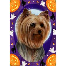 Yorkie Show Cut Halloween Howls Flag