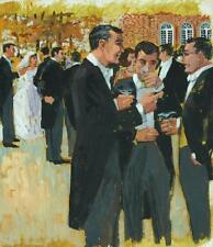 Vintage Illustration Art Watercolor & Gouache of a Wedding Party - 1930's/1940's