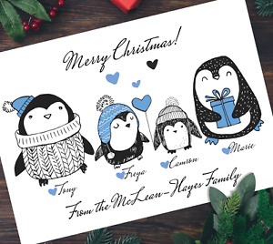 Pack of A5 Xmas Penguin Personalised Family Christmas Card Multipack & Envelopes