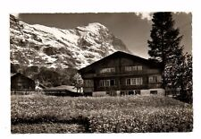 Switzerland - Grindelwald, Oberlanderhaus, Eiger - Vintage Real Photo Postcard