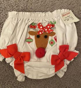 Baby Girl sz 0-6 month White Red Raindeer Christmas Bloomer Diaper Cover MUD PIE