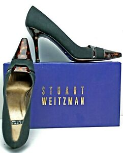 Stuart Weitzman Pump size 8 AA Black & Brown Satin and Patent Heels WH1