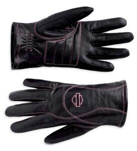 "NEW! Harley Davidson ""Pink"" Label Leather Womens Med Gloves Rare Full Finger"