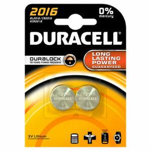 2 x Duracell CR2016 3V Lithium Coin Cell Battery 2016 DL2016 Pack of 2 UK Seller