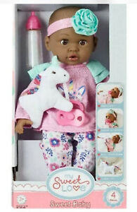 """My Sweet Love 14"""" African American Baby Doll With Bottle 4 Piece Set New"""