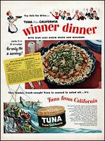 1952 Tuna Fishermen Tuna From California winner dinner vintage art print ad L24