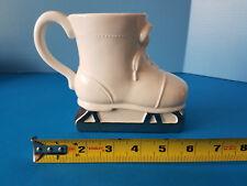 Ice Skate Ceramic White Coffee Cup Mug Planter Container Christmas Hallmark