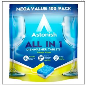 Astonish All In 1 Dishwasher Tablets Pack Of 100 Tabs Lemon Scent Tough C2171