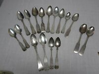 17 ANTIQUE COIN SILVER FIDDLE BACK LARGE TABLESPOONS SERVING SPOONS