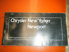 1980 PLYMOUTH NEW YORKER  NEWPORT FACTORY OPERATORS OWNERS MANUAL GLOVE BOX