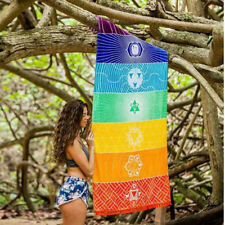 Rainbow Boho Yoga Mat Scaf Rainbow Chakra Tapestry Colorful Towel Beach Shawl