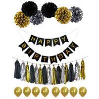 Happy Birthday Banner Bunting Paper Pom Poms Tassel Balloon Party Decoration kit