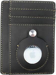 Slim Airtag Wallet Mens Genuine Leather Credit Card Money Holder Air Tag Case
