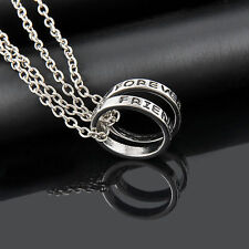 ''UK'' STUNNING 2X FOREVER FRIENDS RING PENDANT NECKLACE