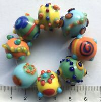 8 x bright, bumpy, round, lampwork glass beads.  43 gms.  109