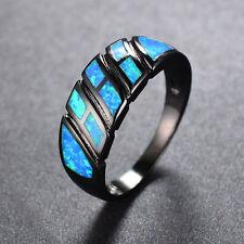 Opal Fire Blue Gem Band Wedding Rings 10Kt Black Gold Filled Women/Men Jewellery