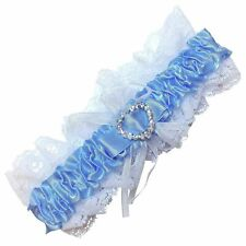 Blue and White Crystal Garter Heart Detail Elasticated Womens Bridal Accessory