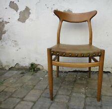 Hans Wegner W2 Stuhl chair Eiche Leder Nieten mid century danish-design
