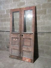 ~ Antique Oak Double Entrance French Doors Beveled Glass ~ 45 X 87.75 ~ Salvage