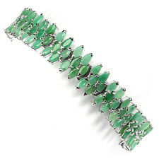 Sterling Silver 925 Genuine Natural Marquise Green Emerald Flower Bracelet 7 In