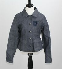 Nwt Ikks Girl's Denim Jean Jacket 12Y Blue Pindot Stretch Cotton Blend