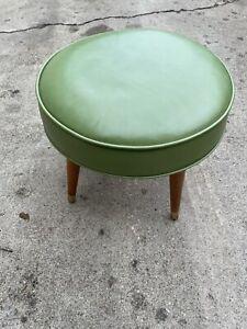 Vintage Mid Century Modern Round Green Vinly Foot Rest Stool! Popular Piece!