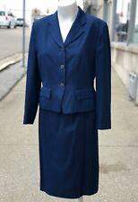 Vintage Pendleton Petite Blue Silky Polyester Business Pencil Skirt Suit 8 & 10