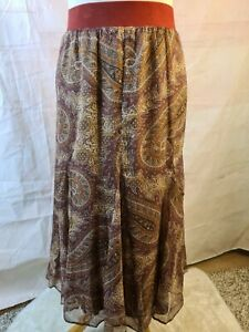 Cotswold Collection Multicolour Paisley Print A-Line Lined Midi Skirt Size 14