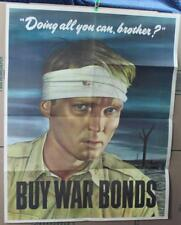 "1943 Orig WWII Poster:   ""Doing All You Can, Brother?...Buy War Bonds"""