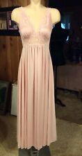 Vintage Olga Pink Body Silk Full Sweep Full Length Nightgown Size Medium