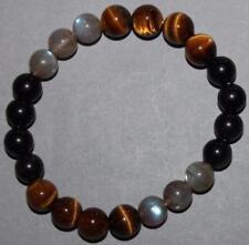 """Bracelet Protection: Oeil de tigre, Labradorite, Obsidienne Oeil Céleste 8 mm """"M"""