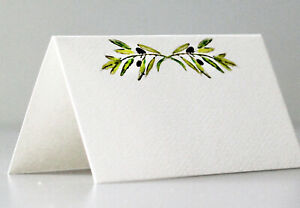 PLACE CARDS - Green Leafy OLIVE BRANCH.  Tent Style