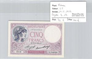 Ticket France - 5 Francs 11.5.1933 - Fayette 3 (17) Pick 72 E - Q.54948