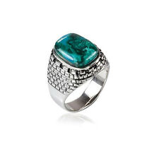 Sterling Silver Jerusalem Wall Natural Blue Green Eilat Stone Ring Mens Jewelry