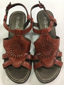 Grosby Womens Red Brown Rust Shoes Size 8 Sandals