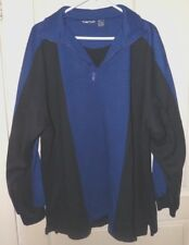 Men's XL Pull Over Sweatshirt 1/4 Zip Blue Black Soft Acrylic Puritan