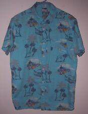 Vintage 90's Hang Ten Longboard Surfer Palm Tree Print Hawaiian Shirt Med