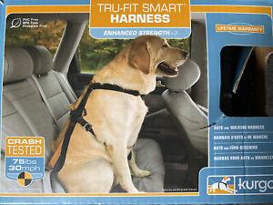 Kurgo Enhanced Strength Tru-Fit Smart Harness with Seatbelt Tether Black Large