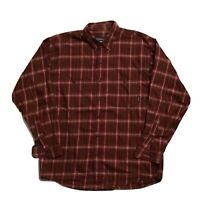 Patagonia Mens Sz M Button Up Long Sleeve Shirt Red Brown Plaid Metal Buttons