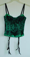 Emerald Green Satin Bustier Corset Black Lace Hook-Eye 4 Garters UW Boned 32