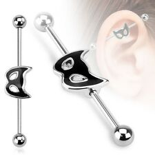 BLACK CAT Mask Stainless Industrial Scaffold Ear Barbell Rings PIERCING JEWELRY
