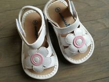 Girls Pink Flower  Sandals SQUEAKY SHOES size  4  7 8 -White  SANDALS SWP