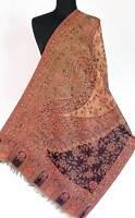 Paisley Wool Jamavar Shawl. Burgundy & Black. India Jamawar Stole. Wrap Pashmina