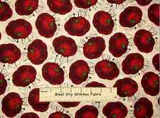 Sewing Seeds Sew Quilt Theme Red Tomato Pin Cushion Toss Ecru Cotton Fabric YARD