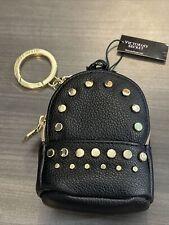 Victoria Secret Studded Mini Black BackPack Keychain V Charm Coin Purse