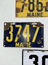Maine License Plate 1913 Porcelain 3737 4 Digit ME Yellow Blue
