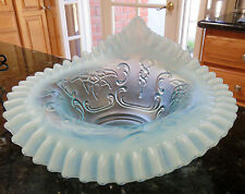Fenton WILD ROSE Blue Opalescent Glass Bowl*Jack in the Pulpit*Candy Ribbon Edge
