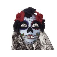 KBW Women's Day of the Dead Flowers & Veil Full Mask